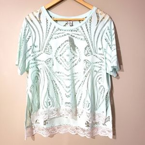 Bar III Short Sleeve NWT Sheer Lace XLARGE Top